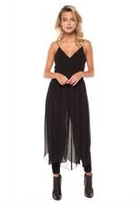DEX Dex - Black Dress w/ Sheer Overlay + Sash