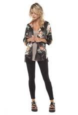 DEX Dex - Black Floral 3/4 Slv Kimono w/ Lace Hem