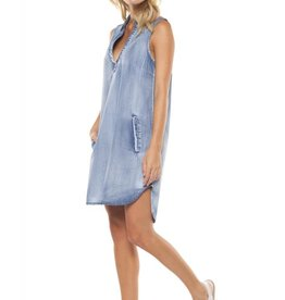 DEX Dex - Denim/Chambray Slv/less Tunic w/ Pockets