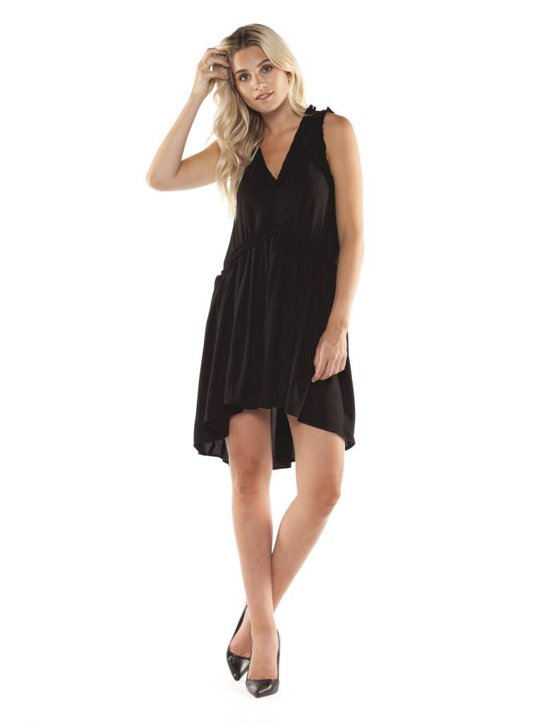 DEX Dex - Black Slv/less V-Neck Dress w/ Ruffles