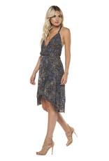 DEX Dex - Navy/Olive Ombre Print Surplice Dress