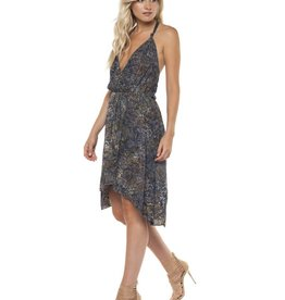 DEX Dex - Navy/Olive Ombre Print Surplice Dress