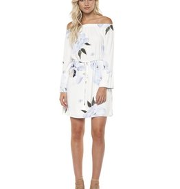 DEX Dex - White / Blue Watercolour Flowers Off The Shoulder Dress
