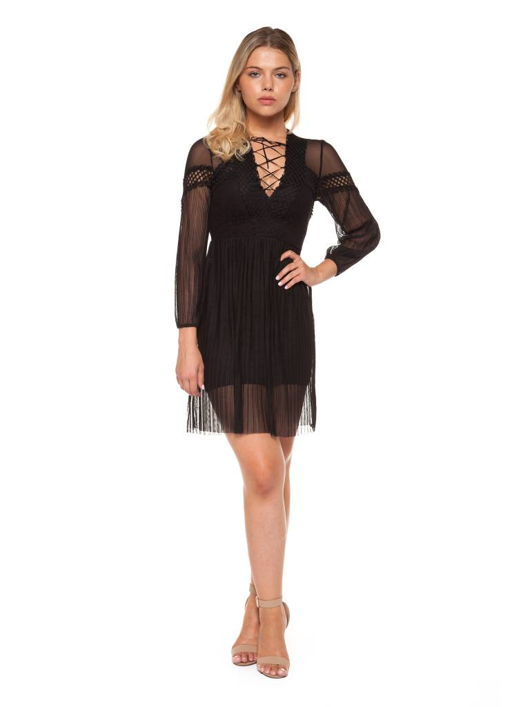 DEX Dex - Black L/Slv Mesh + Jacquard Detail Dress