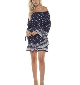 DEX Dex - Navy Paisley L/Slv Off The Shoulder Dress
