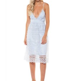 DEX Dex - Light Blue Spaghetti Strap Lace Dress