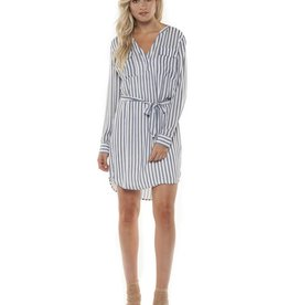 DEX Dex - Blue/Grey Stripe L/Slv Dress w/ Tie