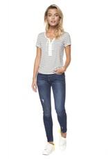 DEX Dex - Ivory/Black Stripe Lace Up Front Crew Neck T-Shirt