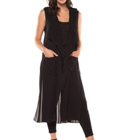 Black Tape Black Tape - Long Open Vest w/ Chiffon Pleated Back