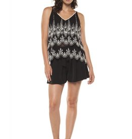 DEX Black Tape - Black/Ivory Double Layered Embroidered Cami