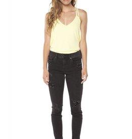 DEX Dex - Black Super Skinny Crop Released Frayed Hem Jeans