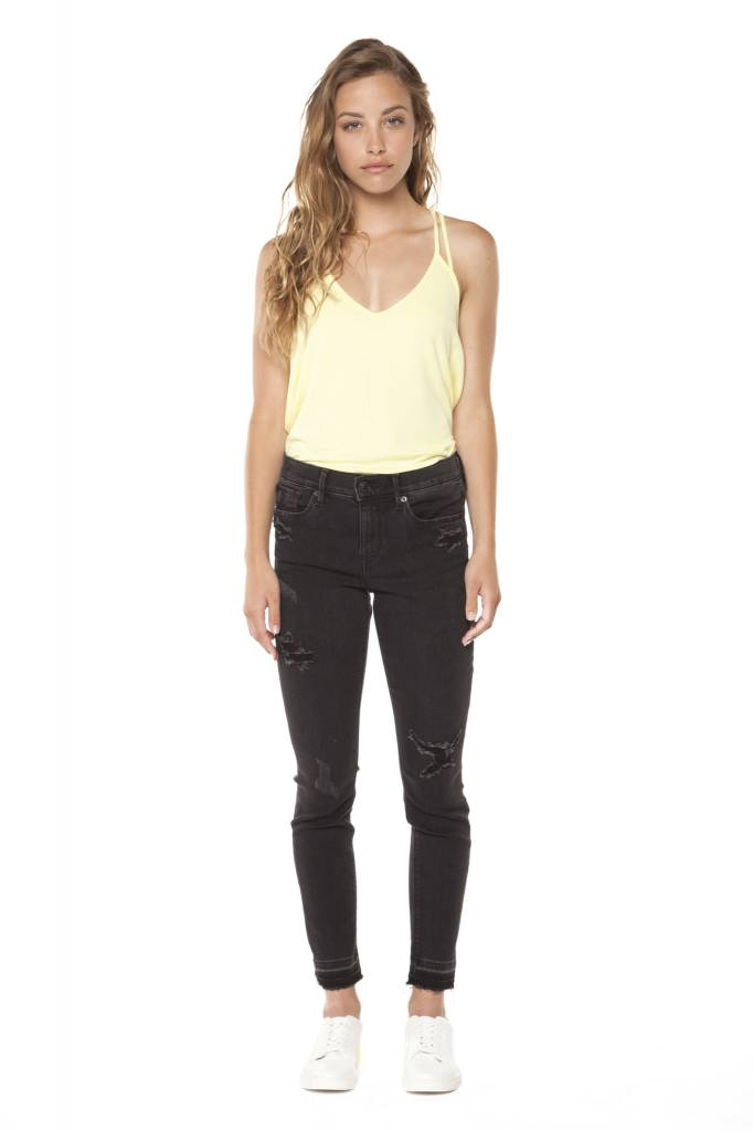 DEX Dex - Black Super Skinny Crop Released Frayed Hem Jeans