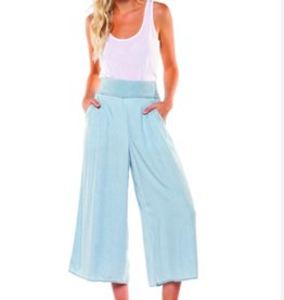 DEX Dex - Denim Blue Pull-On Wide Leg Tencel Pants