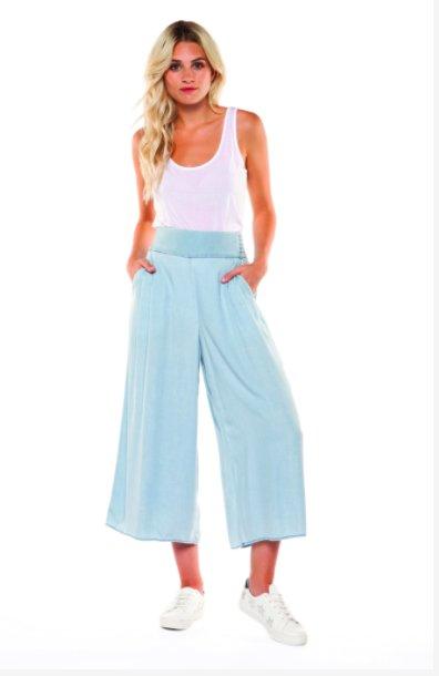 DEX Dex - Denim Blue Pull-On Wide Leg Tencel Pants