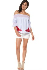 DEX Dex - Blue Striped Off The Shoulder Top w/ Red Embroidery