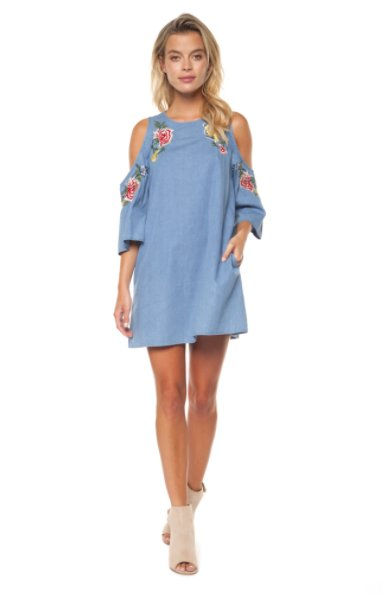 DEX Dex - Denim Blue Cold Shoulder Tunic Dress w/ Embroidery