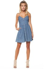 DEX Dex - Denim Blue Sweetheart Button Front Dress