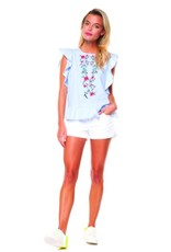 DEX Dex - Chambray Butterfly Slv Top w/ Embroidery + Open Back