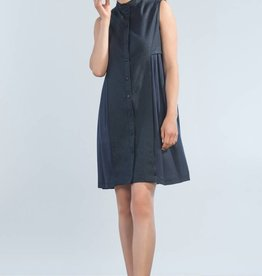 Jennifer Glasgow Jennifer Glasgow - Navy Button-up Two Tone Dress 'Fantail'