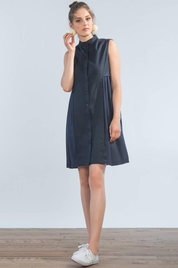 Jennifer Glasgow Jennifer Glasgow - Navy Button-up Two Tone Dress 'Fantail'
