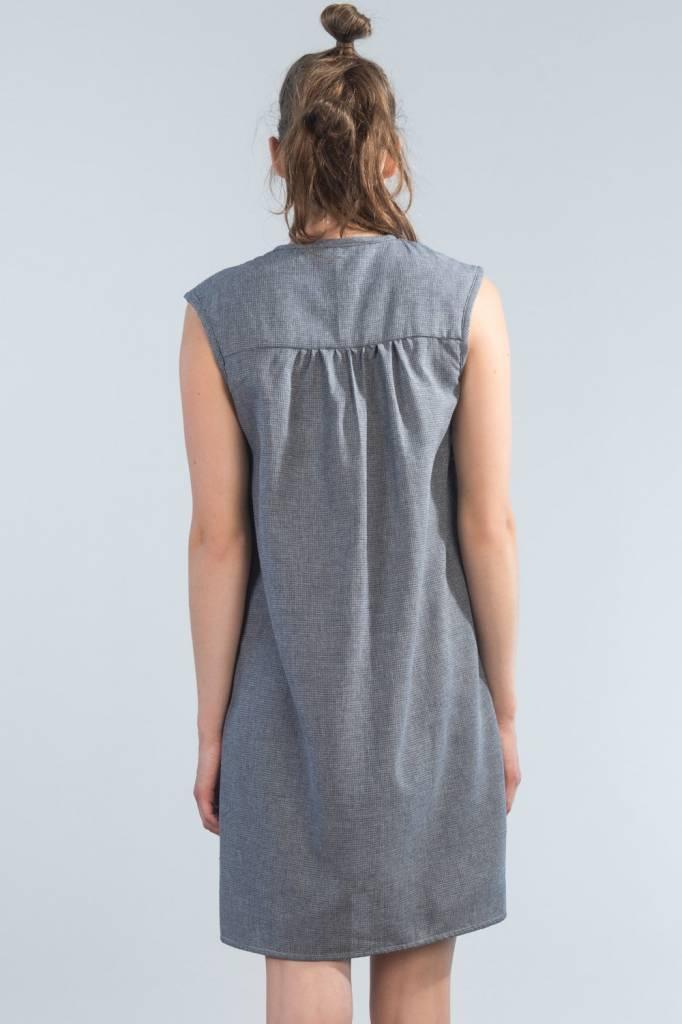Jennifer Glasgow Jennifer Glasgow - Denim Chambray Button-up Dress w/ Ruffle 'Castaway'