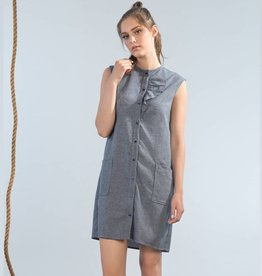 Jennifer Glasgow Jennifer Glasgow - Denim Chambray Button-up Dress w/ Ruffle 'Castaway'