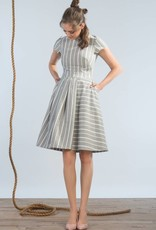 Jennifer Glasgow Jennifer Glasgow - Grey/White Stripe Fit + Flare Dress 'Wharf'
