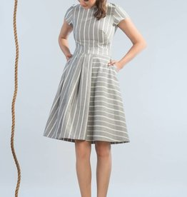 Jennifer Glasgow Jennifer Glasgow - Grey/White Stripe Fit + Flare Dress 'Wharf'