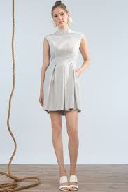 Jennifer Glasgow Jennifer Glasgow - Silver Shimmer Fit + Flare Dress 'Jetty'