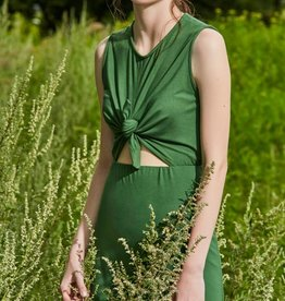 Eve Gravel Eve Gravel - Green Jersey Dress w/ Front Cut-Out + Tie 'Wildflower'
