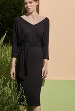 Eve Gravel Eve Gravel - 3/4 Slv Black Midi Dress w/ Tie 'Les Noces'