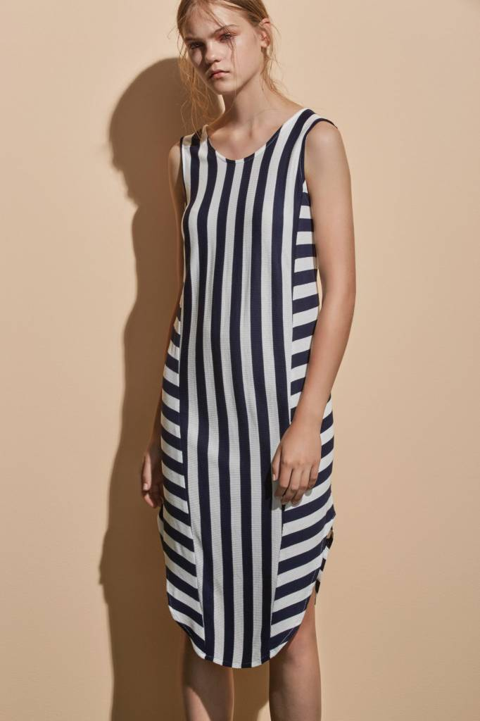 Eve Gravel Eve Gravel - Navy/White Striped Midi Dress 'Iles'