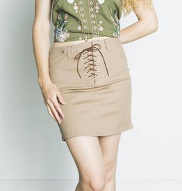 DEX Dex - Cognac Pencil Skirt w/ Front Lace-up