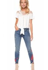 DEX Dex - Blue Jeans w/ Pink Embroidery + Raw Edge Hem