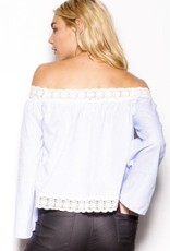 Pink Martini Pink Martini - Blue Striped Off The Shoulder Top