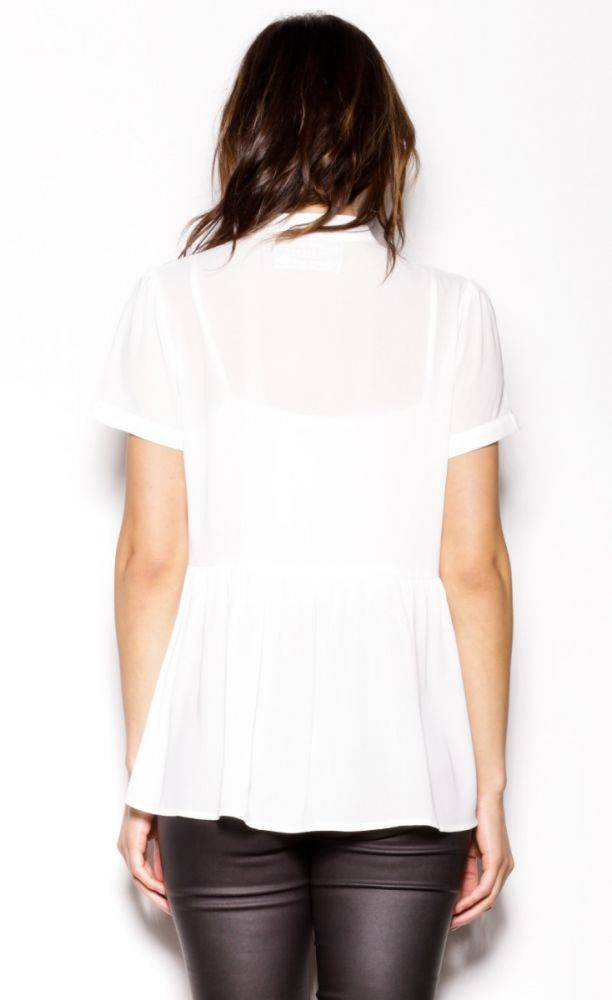 Pink Martini Pink Martini - White Embroidered Tee Blouse