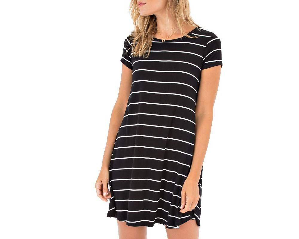 Z Supply Z Supply - Black/White Striped A-Line Dress
