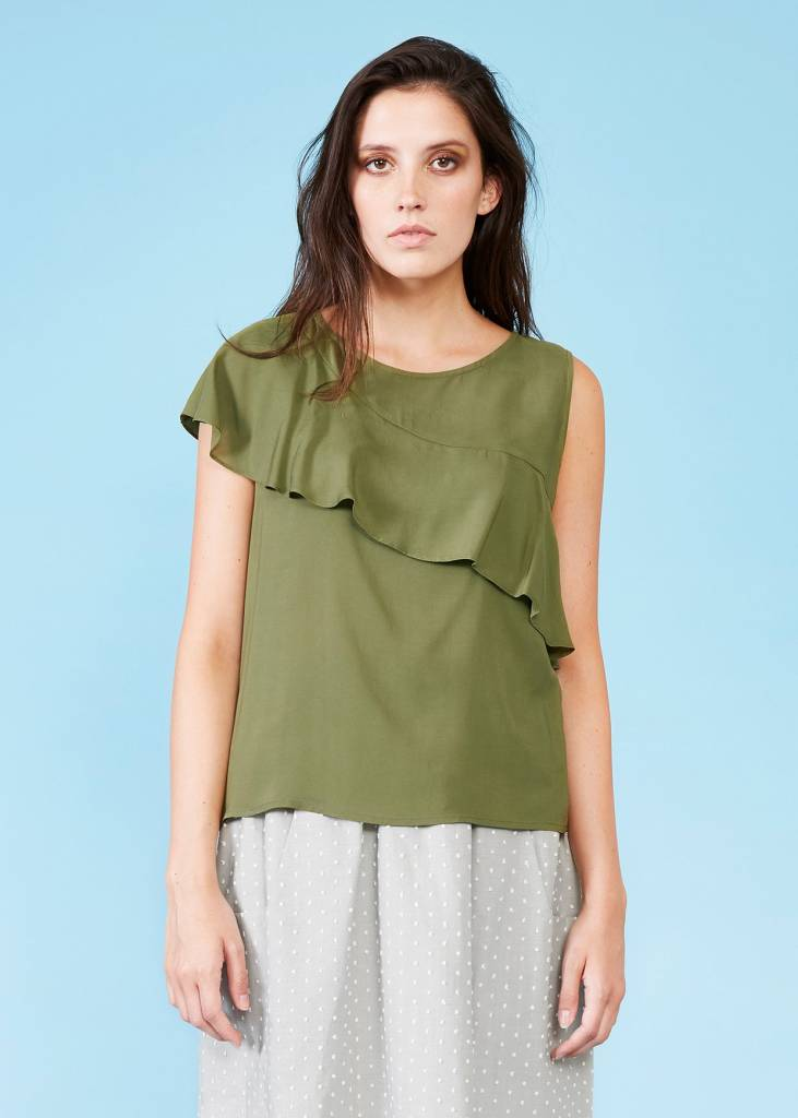 Dagg + Stacey Dagg + Stacey - Ivory Blouse w/ Ruffle Detail 'Aarav'