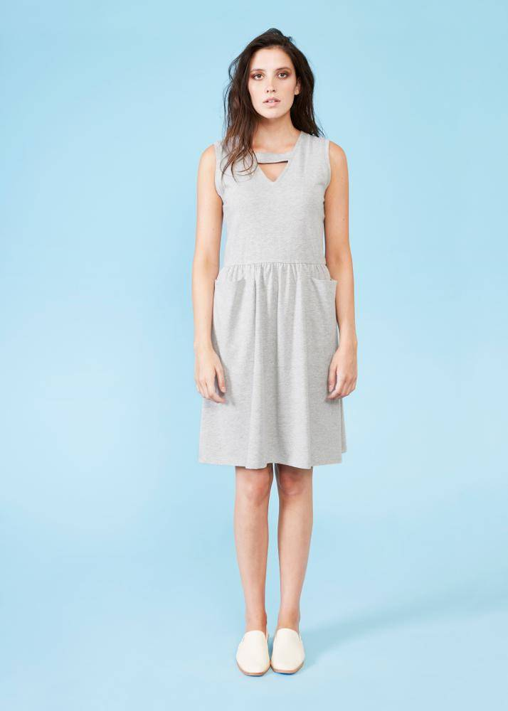 Dagg + Stacey Dagg + Stacey - Grey Fit + Flare Dress w/ Cut-Outs 'Emrys'