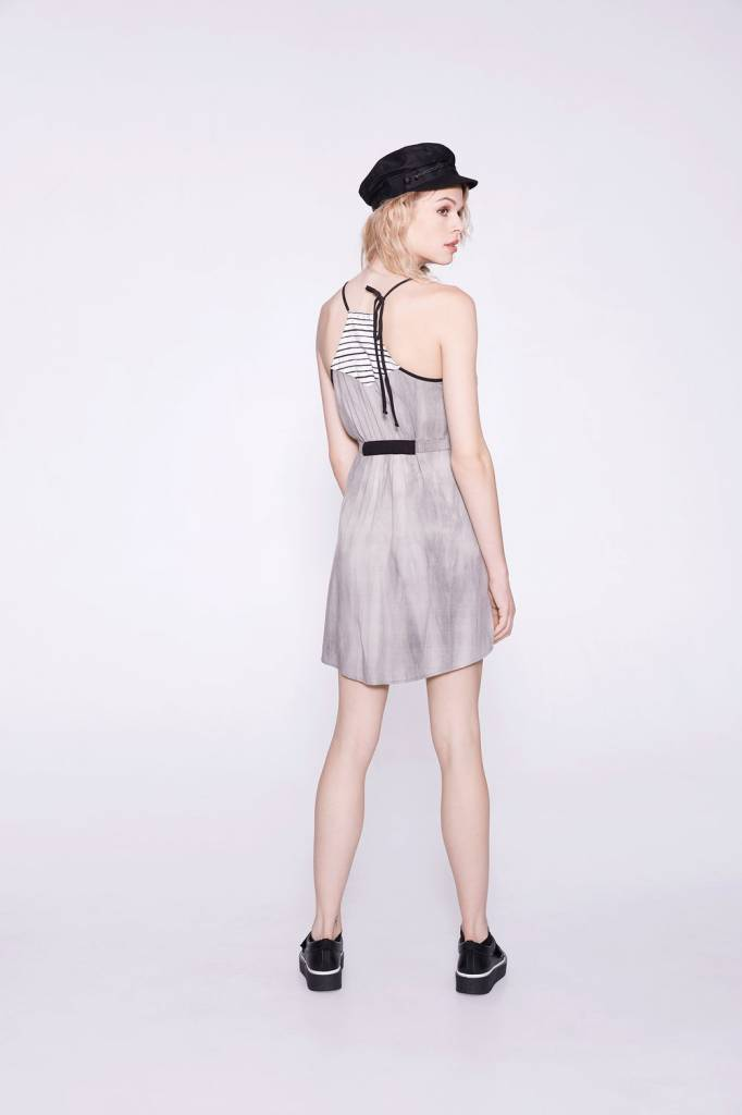 Cokluch Cokluch - Grey Fit + Flare w/ Stripe Detail + Waist Tie 'Simone'