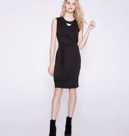 Cokluch Cokluch - Black Asymmetrical Side Tie Dress 'Amelia'