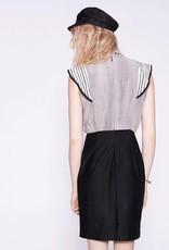 Cokluch Cokluch - Grey/Black Bodycon Dress w/ Stripe Frills 'Jane'