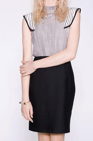 Cokluch Cokluch - Grey/Black Bodycon Dress w/ Stripe Frills 'Jane'