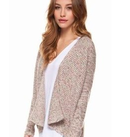 DEX DEX - Multi-Color W/ Metallic L/SLV Open Cardigan Sweater