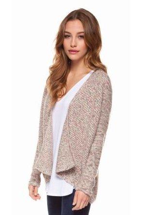 DEX DEX - Multi-Color W/ Metallic L/SLV Open Cardigan Sweater