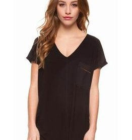 DEX DEX - Black V-Neck T-Shirt W/ Shoulder Insert