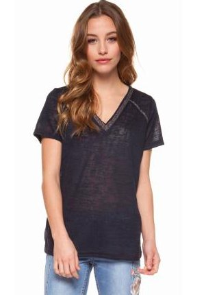 DEX DEX - Navy S/SLV V-Neck W/ Metallic Trim T-Shirt