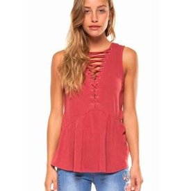 DEX DEX - Burnt Orange S/less Lace-up Front Peplum Top