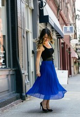 DEX DEX - Royal Blue Pleated Midi Skirt