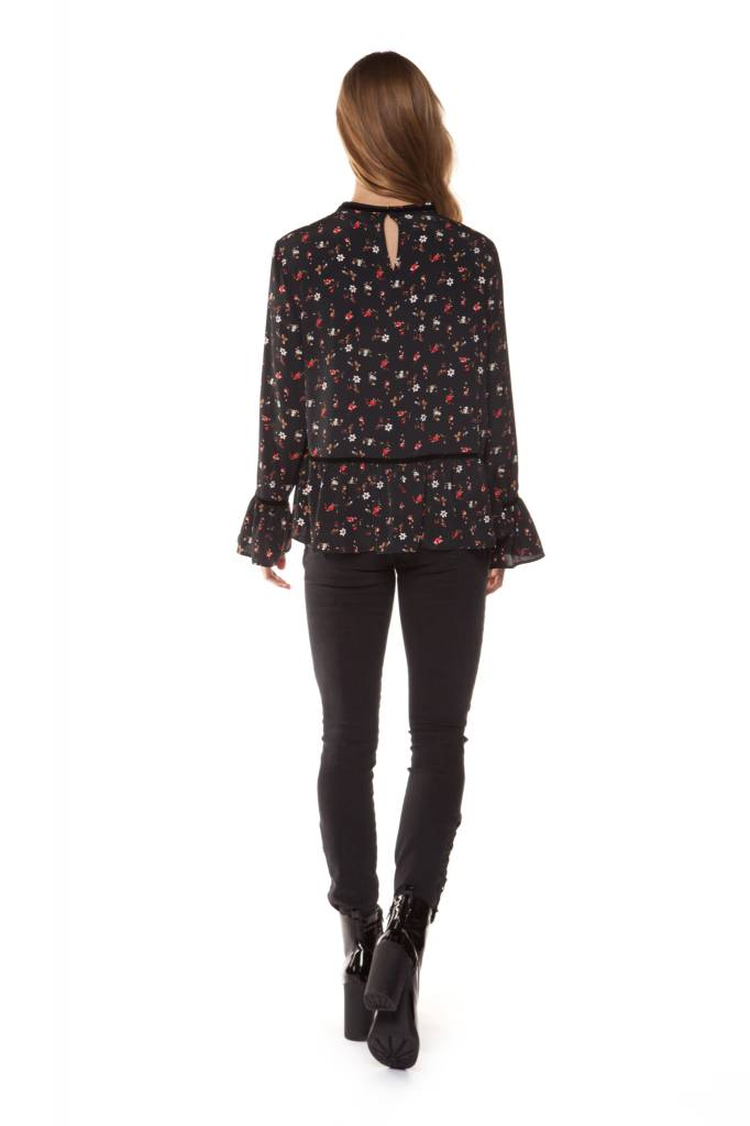 Dex - Black High Neck Red Flower Blouse W/ Bell Sleeve
